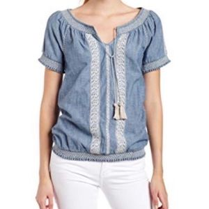 NWT Lucky Brand 🌻 Embroidered Chambray Boho Top